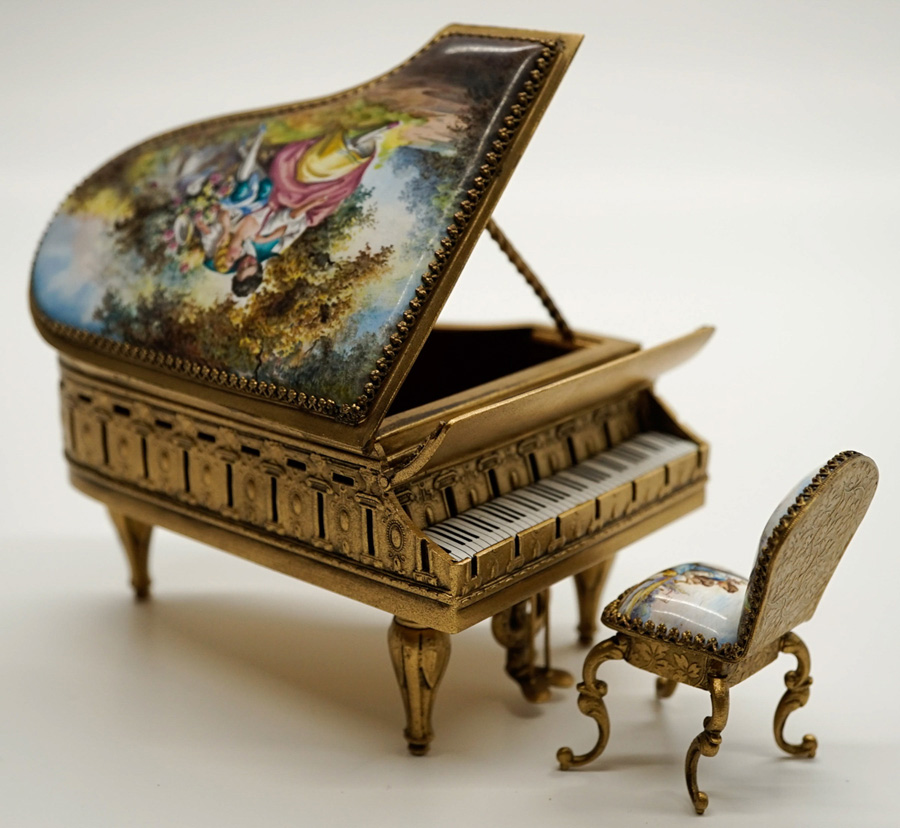 Viennese Enamel Piano Jewelry Box and Chair