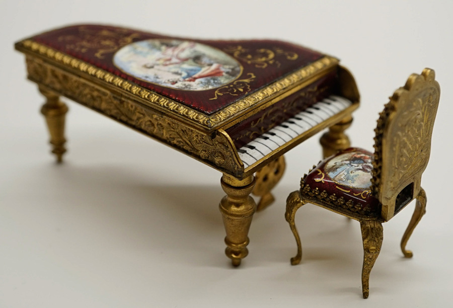 Viennese Miniature Enamel Piano Box and Chair