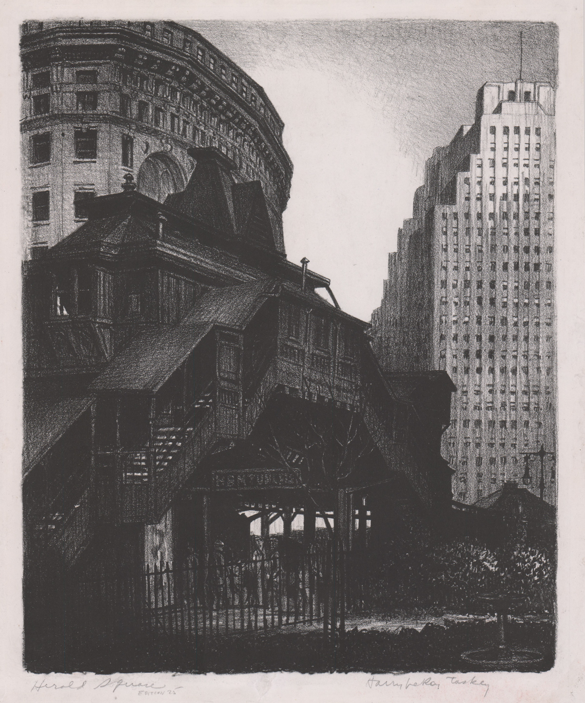 Harry LeRoy Taskey Lithograph [Harold Square, NYC]