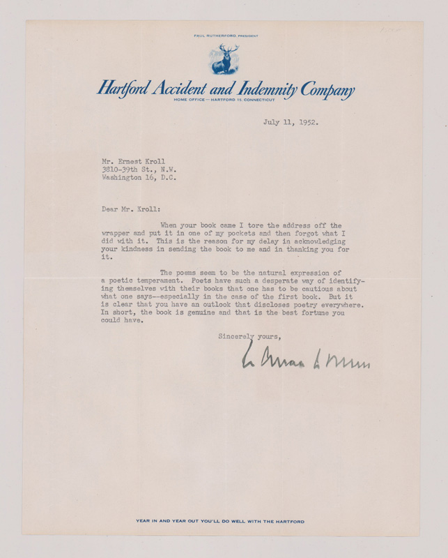 Wallace Stevens TLS Typed Letter Signed