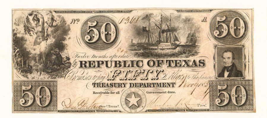$50 Dollar Government of Texas 1839