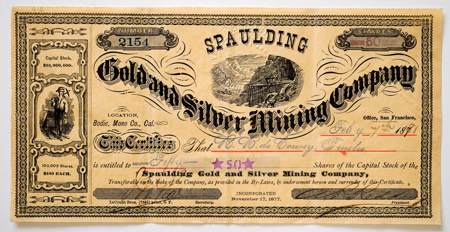 1881 Spaulding Gold and Silver Mining Company