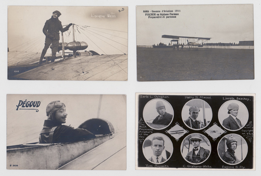 Four Early Aviation Real Photo Postcards
