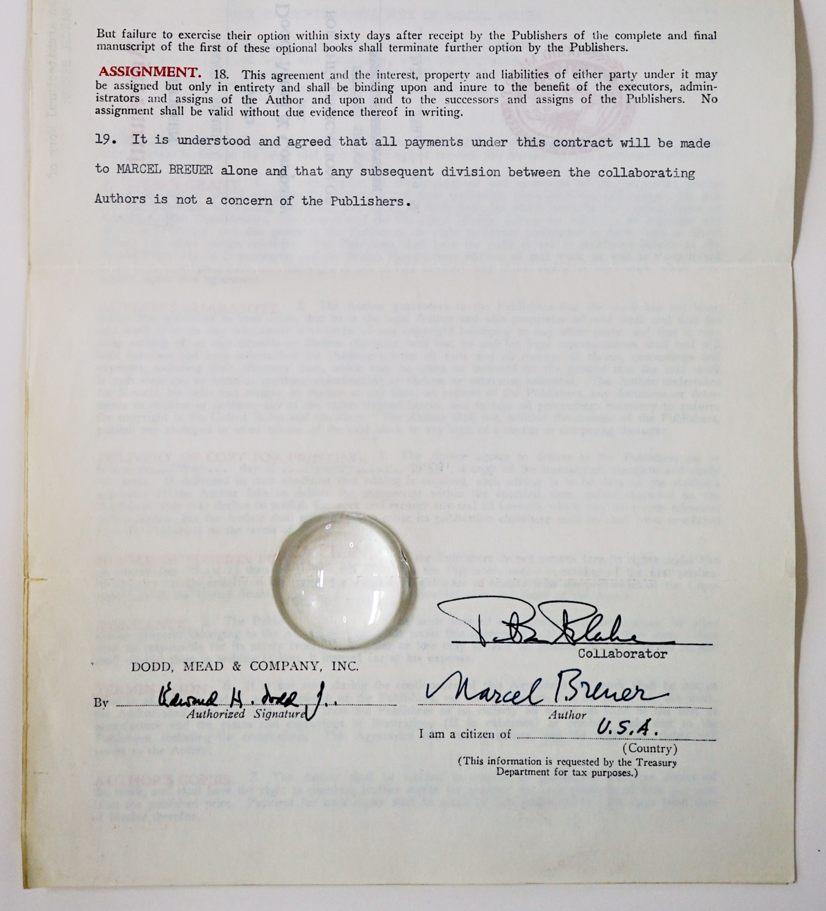 Marcel Breuer Signed Publishers Contract