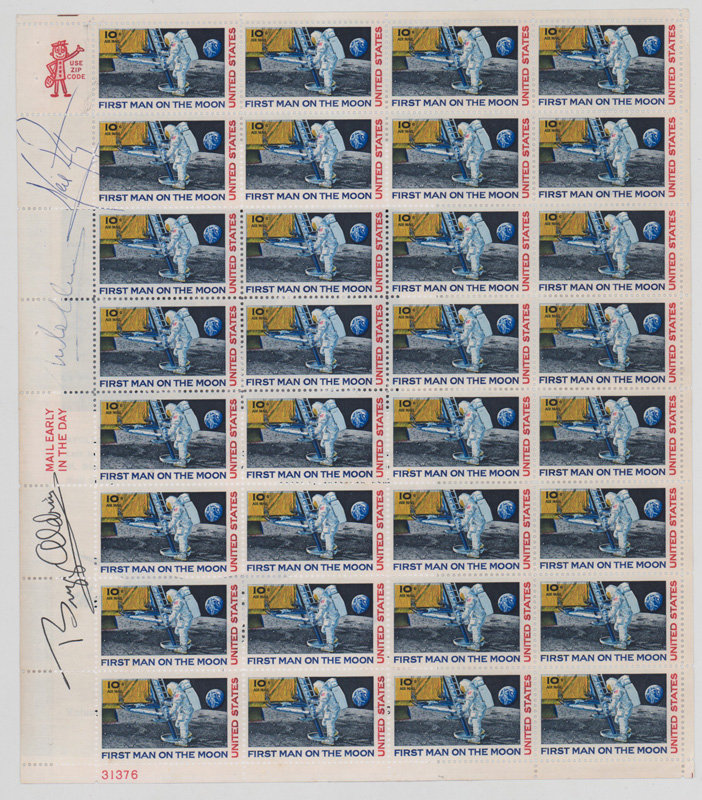 Apollo 11 Signed Full Sheet U.S. Stamps