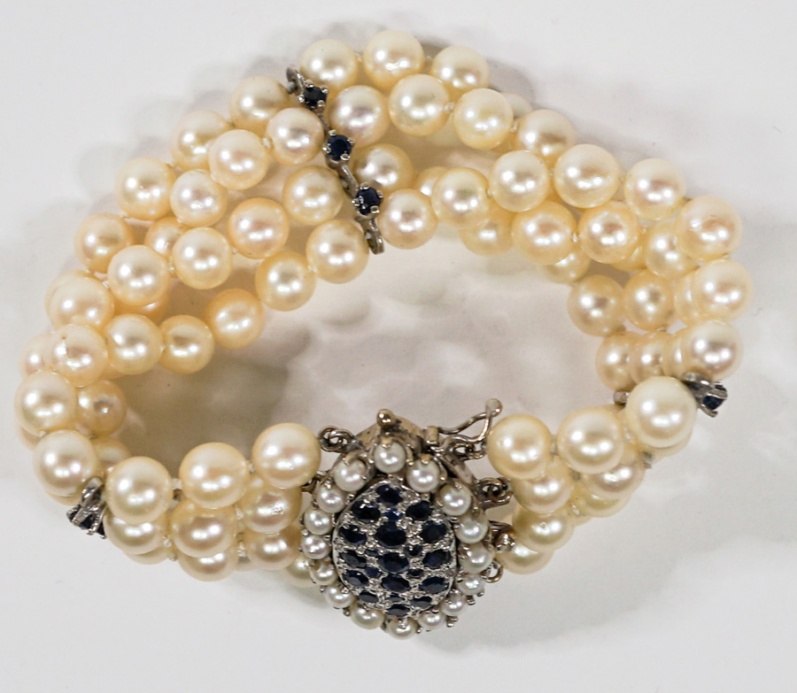 Ladies 14k Pearl and Sapphire Four Row Bracelet