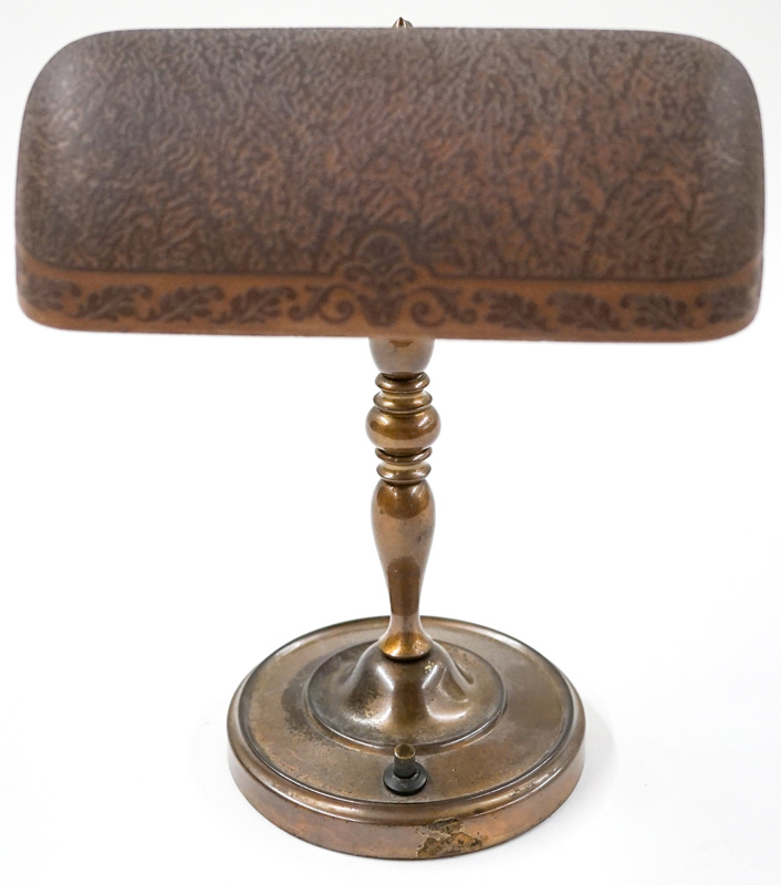 Belgian Etched Shade on Weighted Desk Lamp