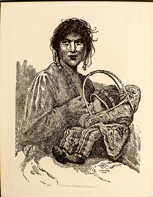 Eustace Ziegler Etching [A Copper River Mother]