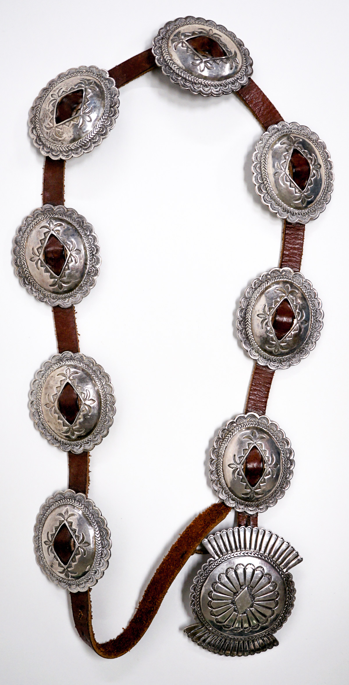 An Outstanding Vintage Large Concho Belt